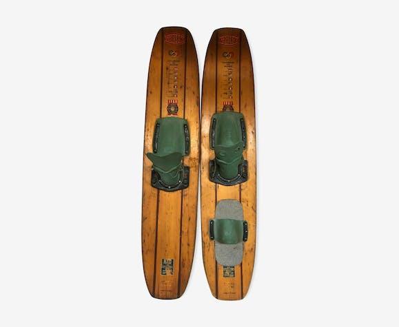 Paire de ski nautique en bois reflex vintage 1969