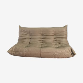 Togo Sofa 3 places leather by Michel Ducaroy for Ligne Roset