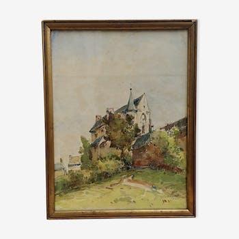 Peinture ancienne de paysage