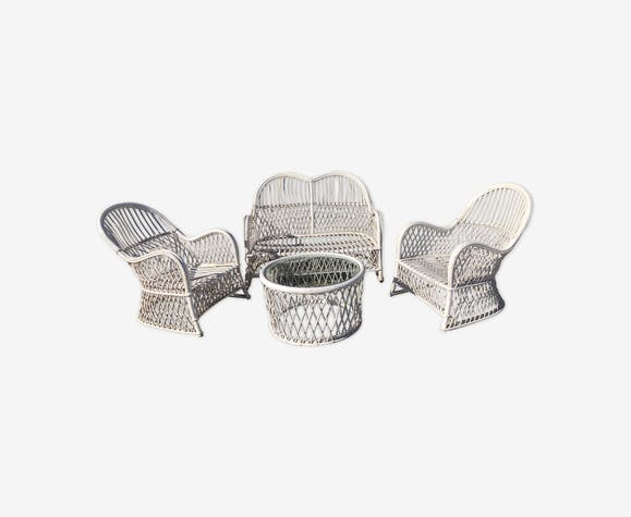 Garden furniture - rattan and wicker - white - vintage - klM0u4B