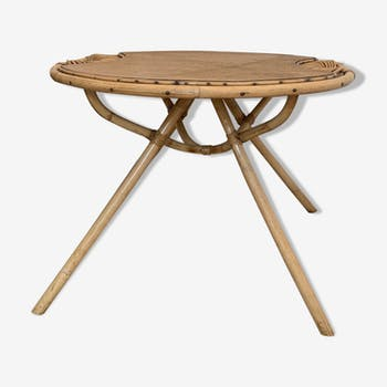 Rattan table years 60