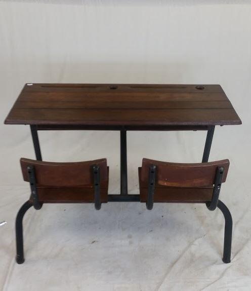 Ancien bureau d écolier en bois et métal restauré rétro années