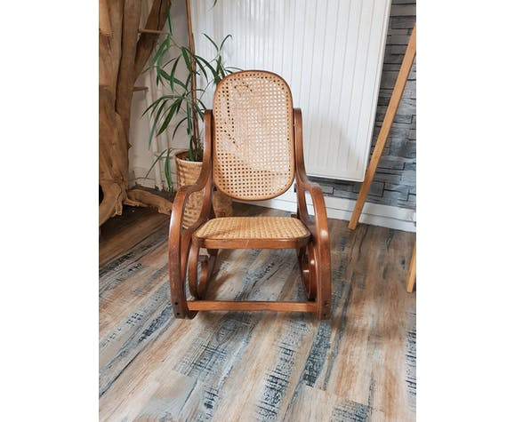 Rocking chair enfant bois cannage vintage