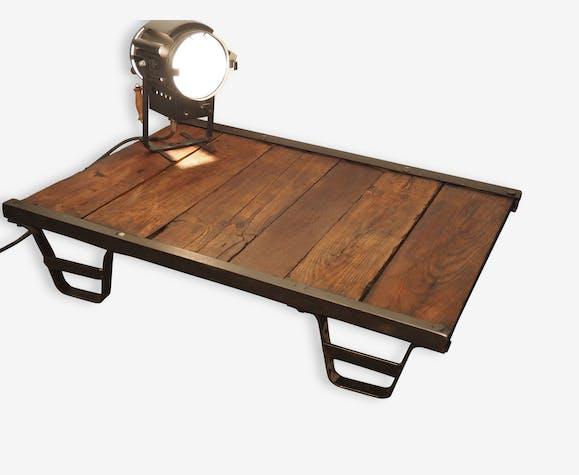 Table Basse Ancienne Palette Usine Industrielle Metal Wooden
