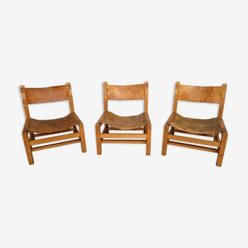 Set of 3 elm and leather armchairs