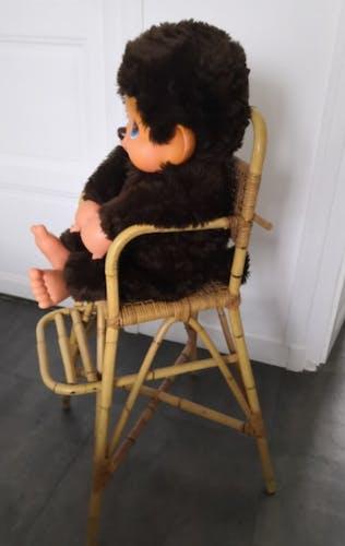 Chaise haute enfant en rotin