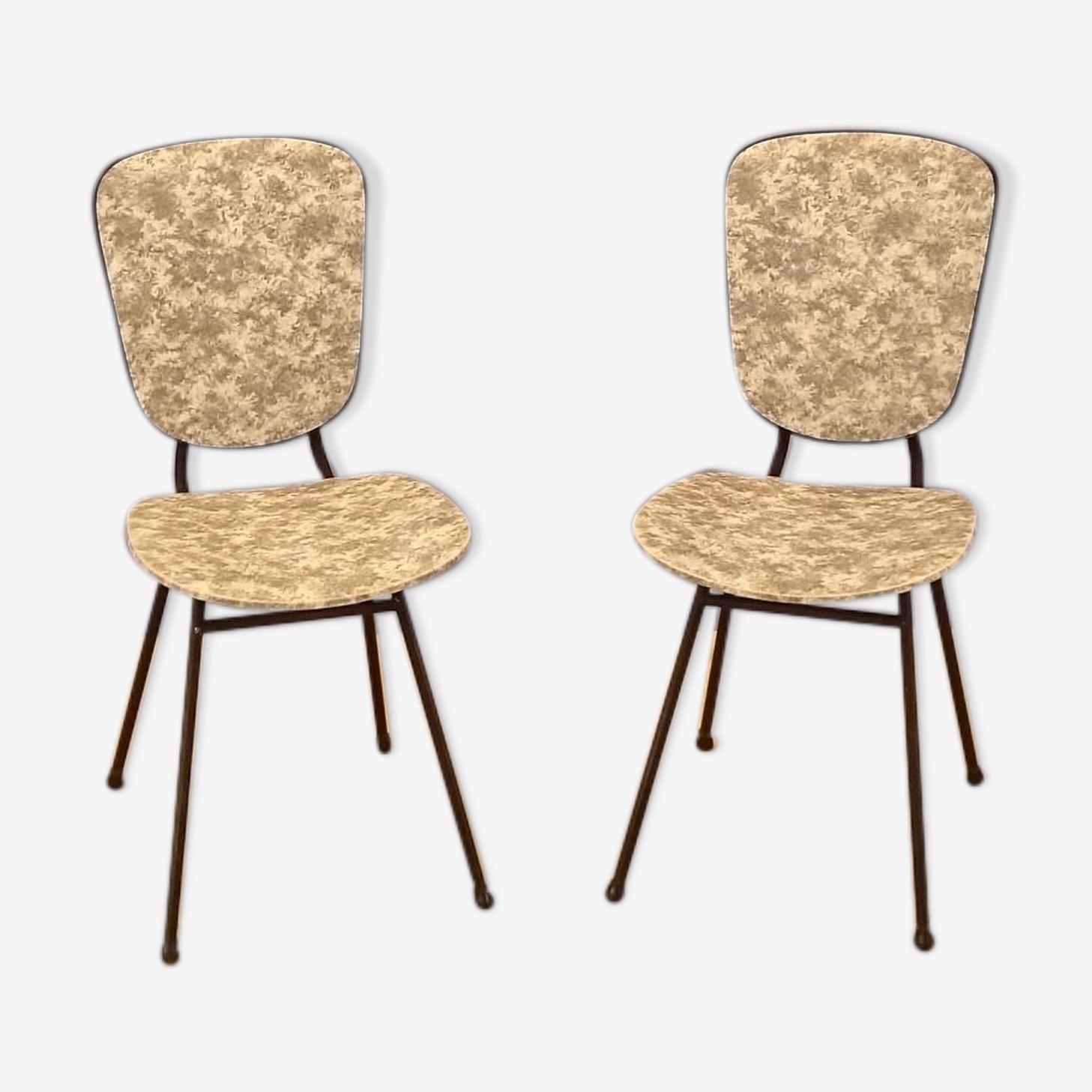 Paire de chaises vintage noires et blanches