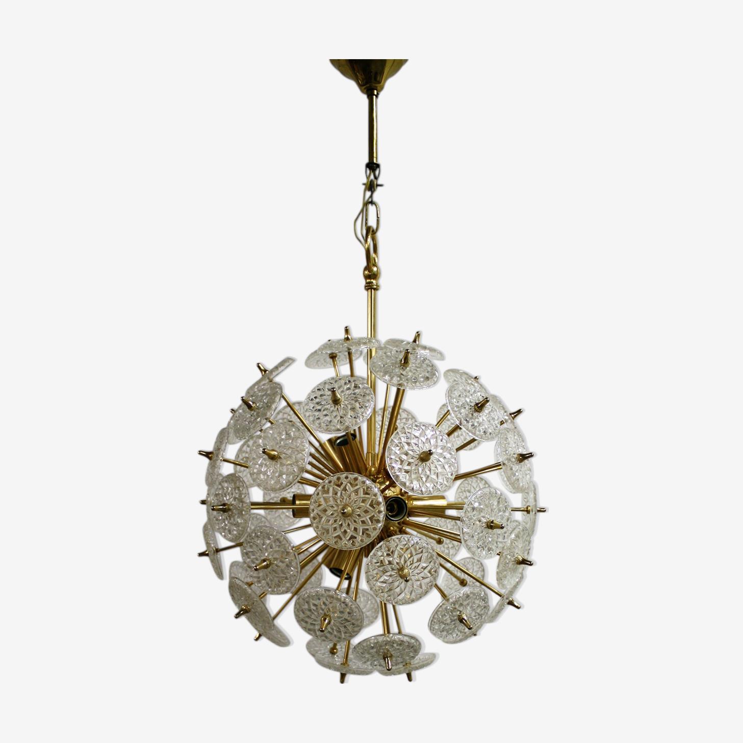 Lustre en laiton et cristal sputnik par Val saint lambert, années 50