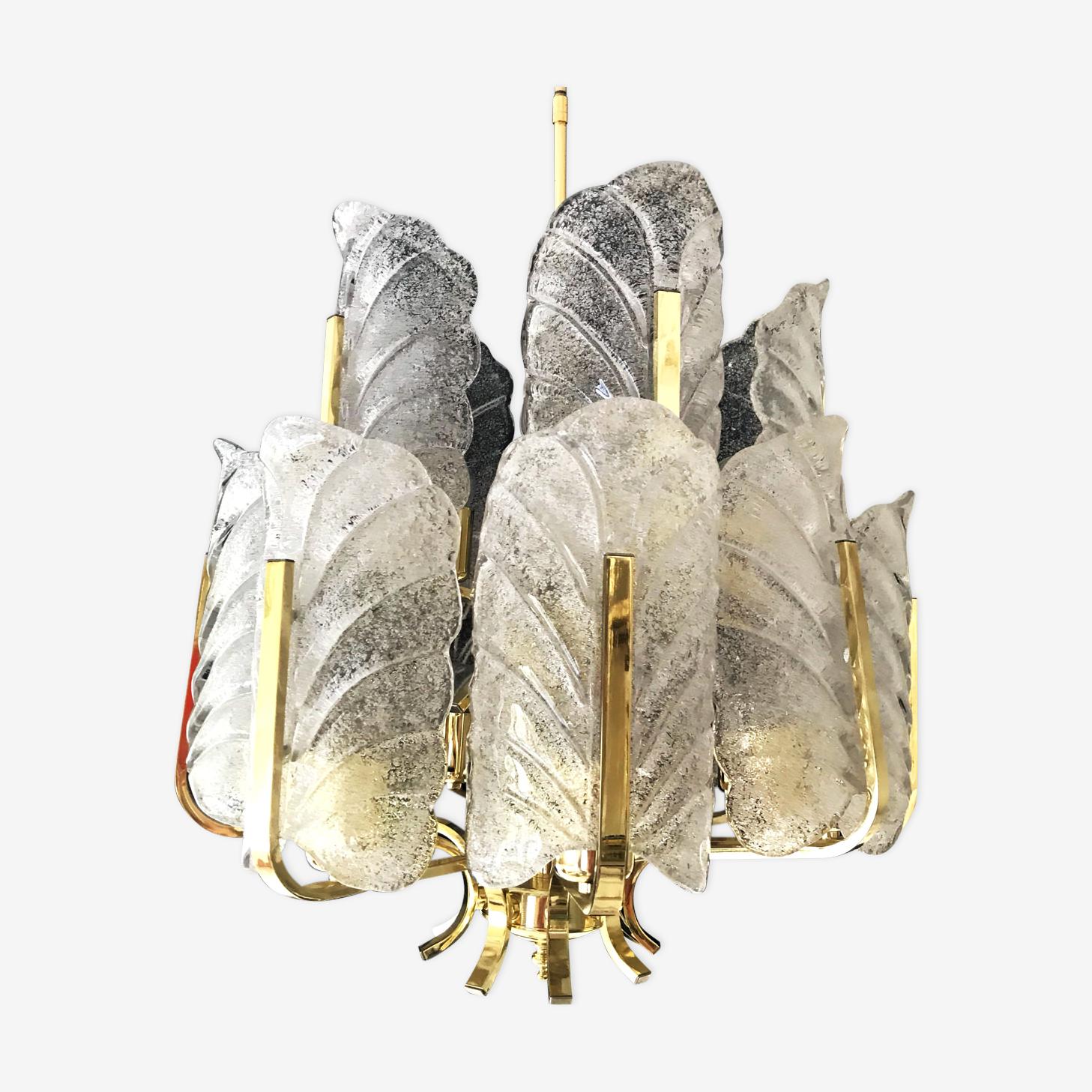 Lustre en verre 15 ampoules Carl Fagerlund  1970