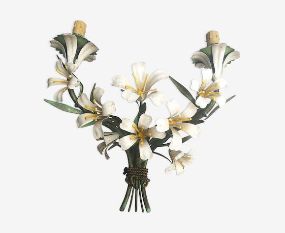 Metal Floral Wall Light Ciani Workshop Italy Vintage Selency