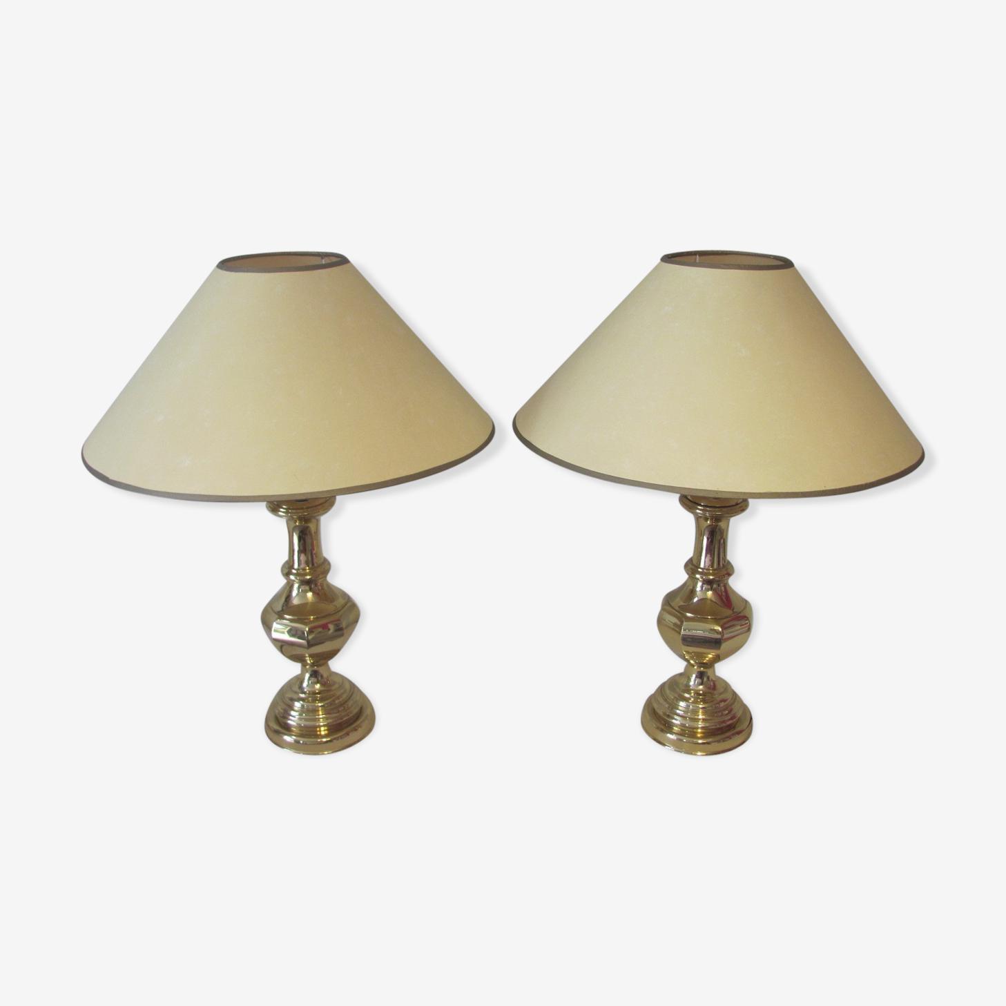 Paire de lampes à poser shabby chic or