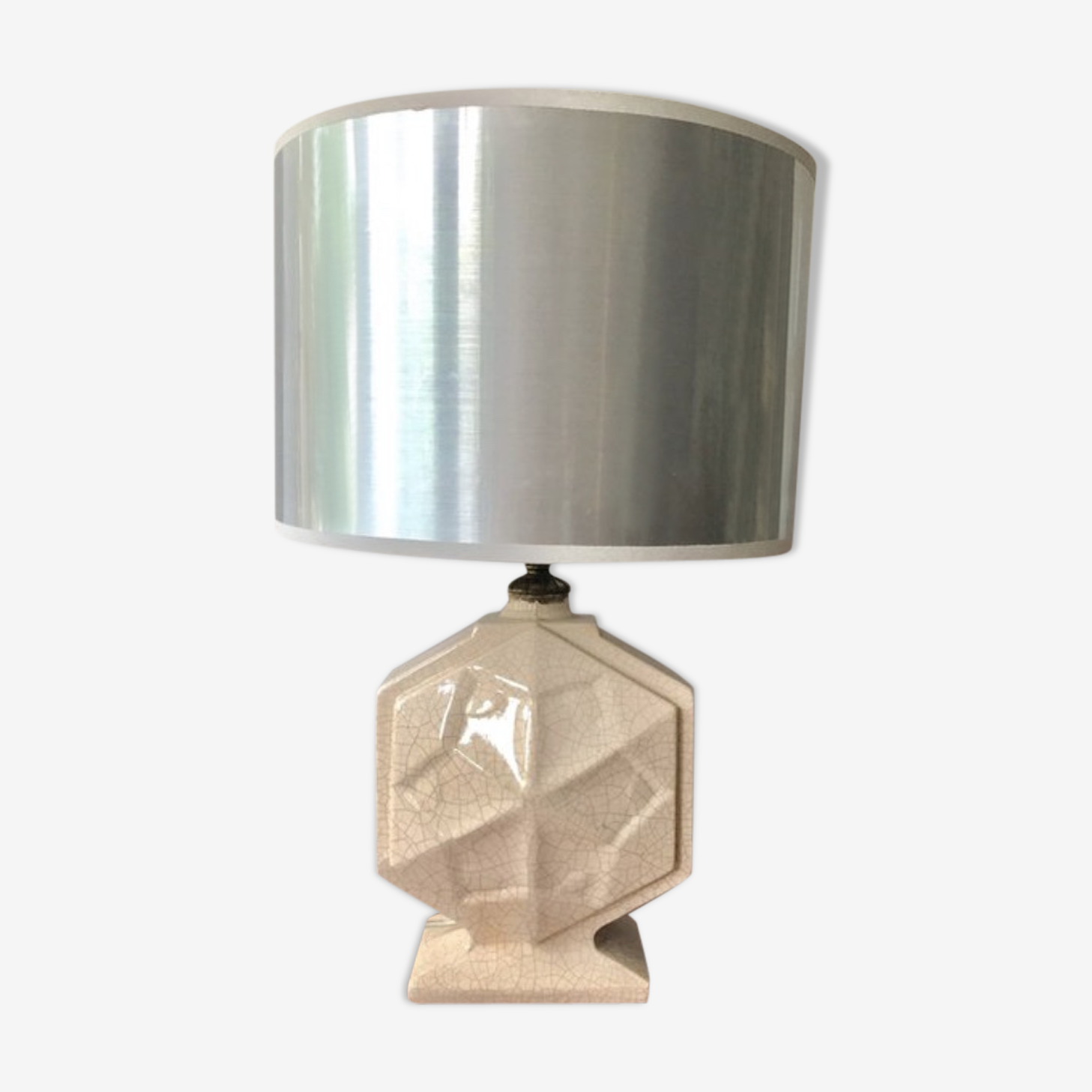 Art deco french pottery table lamp