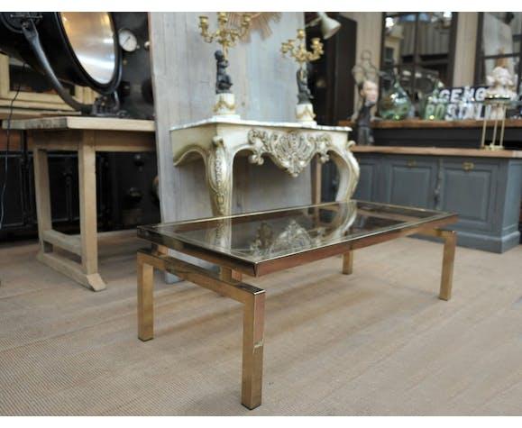 Table basse en laiton et verre 1960