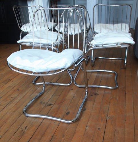 Chaises metal chromées