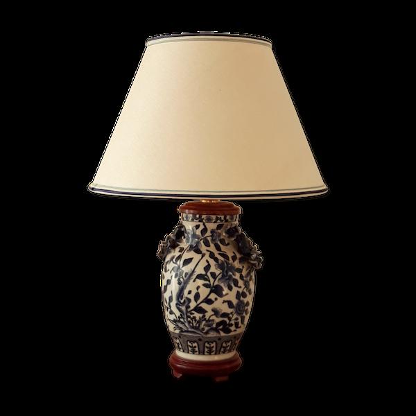 Lampe à poser en porcelaine bleu de Chine