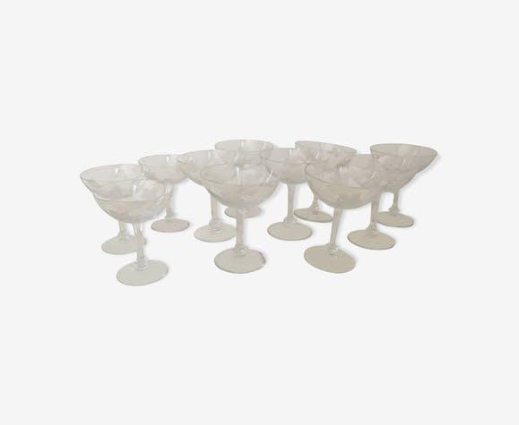 11 coupes a champagne en cristal