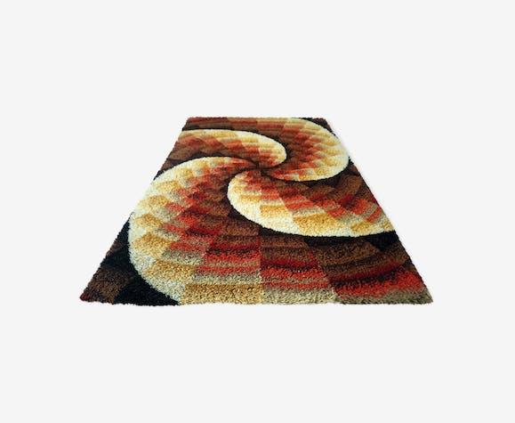 d0faf930018 Tapis rectangulaire multicolore vintage années 70 - 200x140 - laine ...