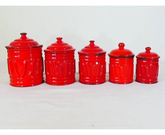 Série 5 pot à épices en tole émaillée rouge inscription blanche