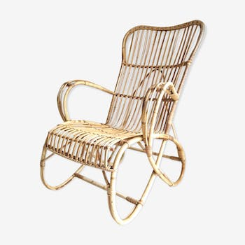 Vintage armchair in rattan feet butterflies