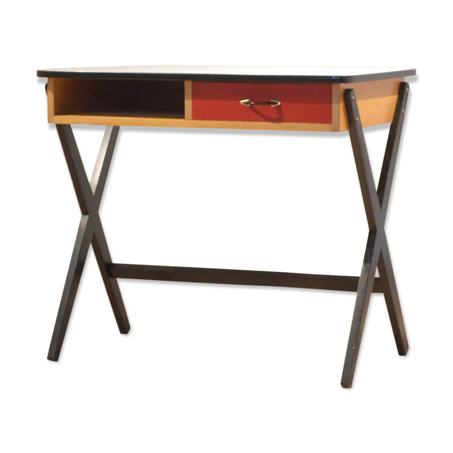 Bureau tricolore en formica bois peint design vintage bois