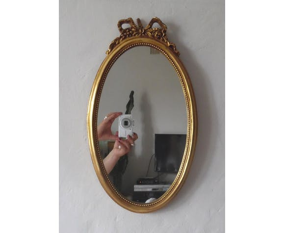 Miroir ovale style Napoléon III 43x25cm
