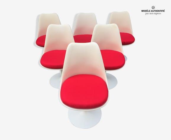 ensemble de 6 chaises tulipe knoll d 39 eero saarinen fibre. Black Bedroom Furniture Sets. Home Design Ideas