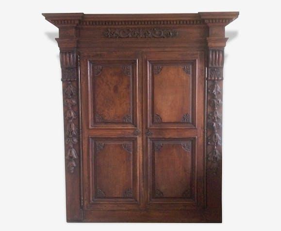 Façade/ portes d'armoire en bois sculpté XIX double vantaux - bois on