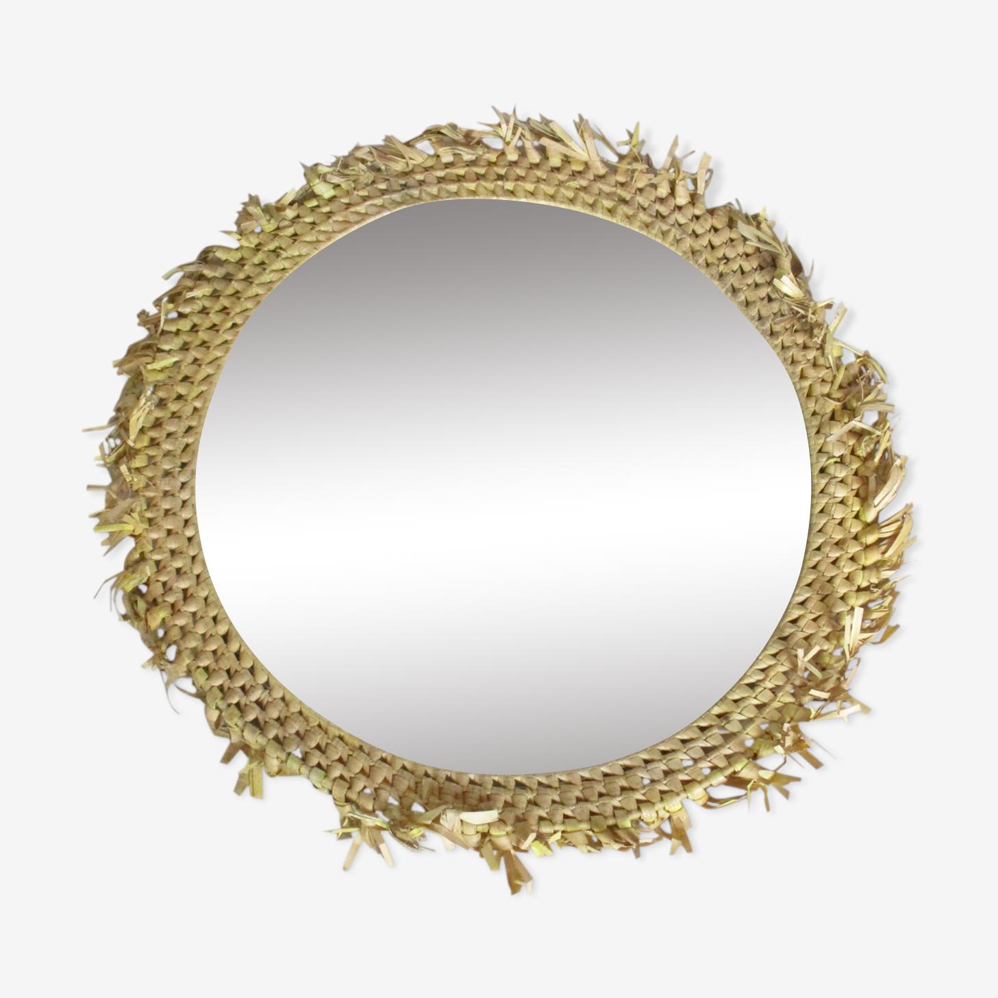 Miroir vintage en raphia 52x52cm