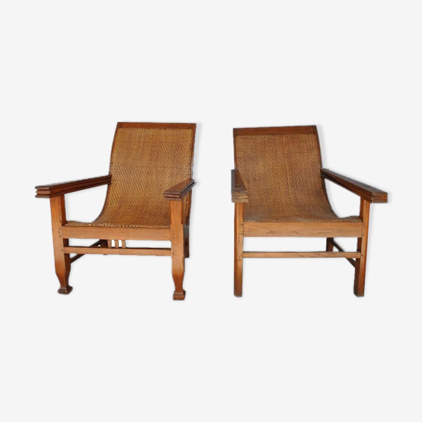 Fausse paire de fauteuils coloniaux fin XIXème dit de planteurs