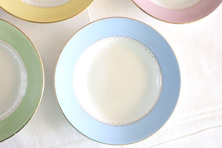 Assiettes mauves L'Amandinoise, 4 creuses, vintage français, authentique Copier