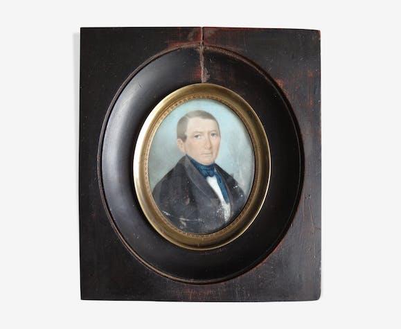 Ancienne miniature portrait homme XIXe