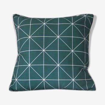 Green geometric cushion 40 x 40 cm