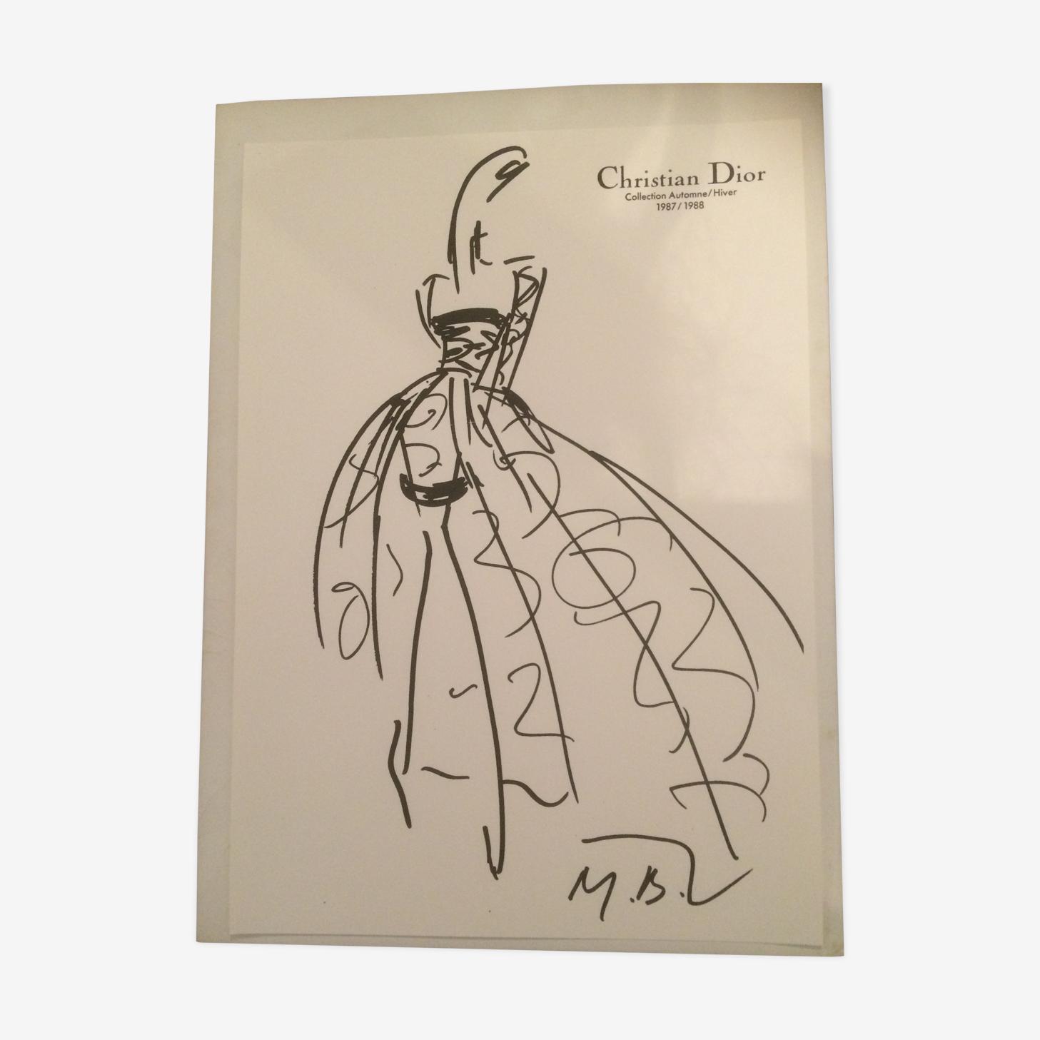 Illustration de mode vintage de presse en noir et blanc Christian Dior