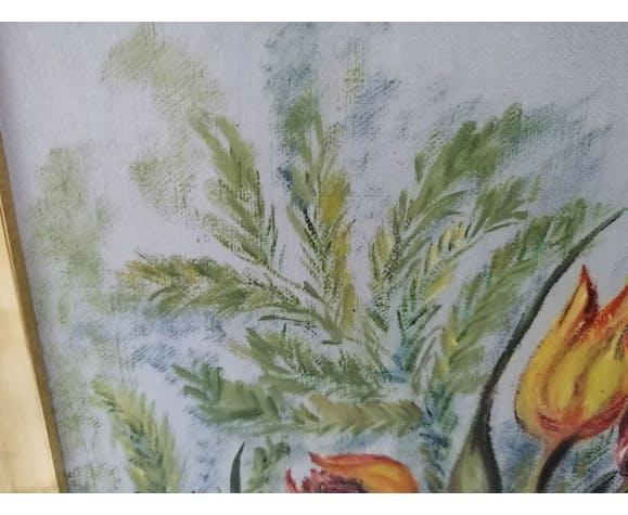 """Nature morte """"Les 4 tulipes"""" huile sur toile datée et signée"""