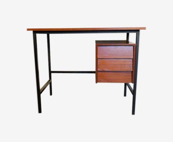 Bureau moderniste  en bois et métal 1960