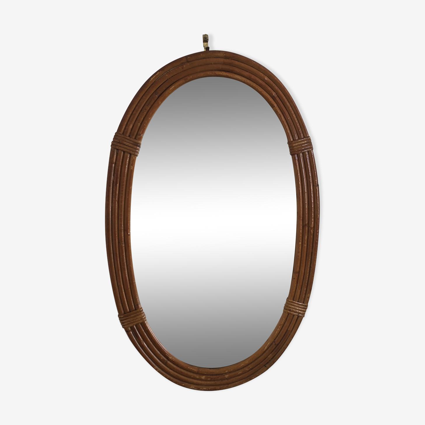 Rattan oval mirror