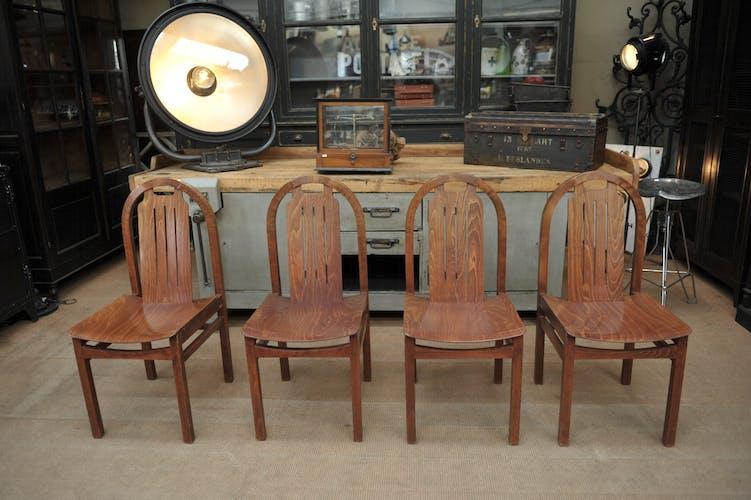 Lot de 8 ancienne chaises vintage bistrot baumann 1960