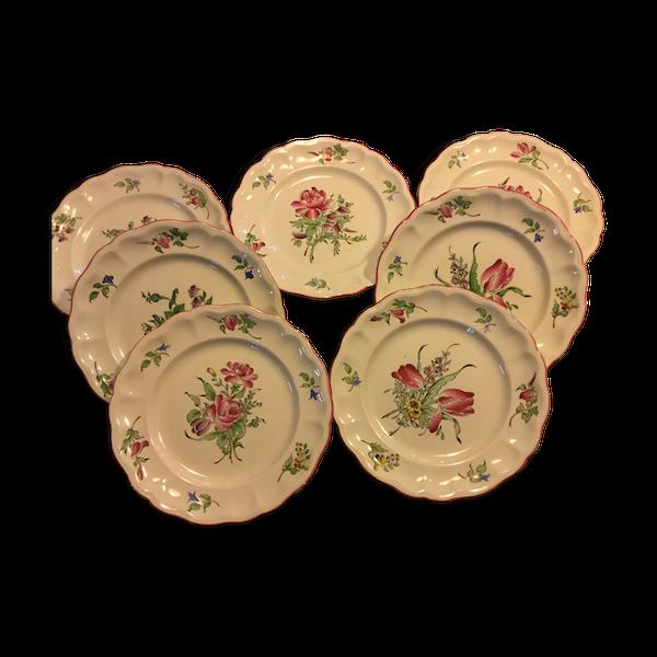 Assiettes plates demi porcelaine KG Luneville France