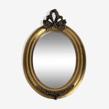 Miroir ovale en bois doré 34x24cm