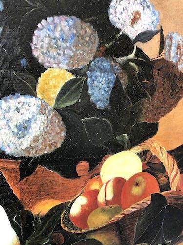Toile huile fruits et fleurs