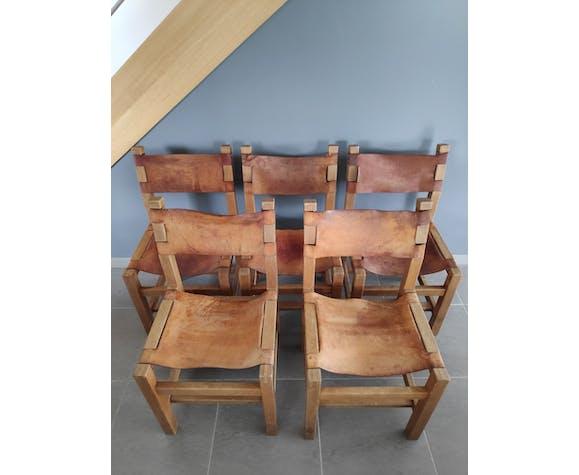 Lot de 5 chaises Maison Regain en orme massif & cuir naturel années 60