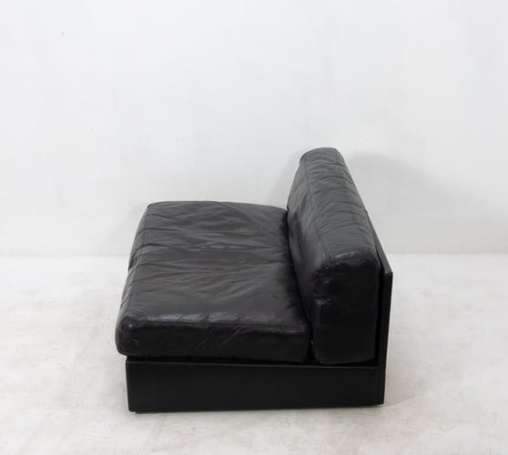 Low Two-Seat Black Leather Sofa or Loveseat, 1960s
