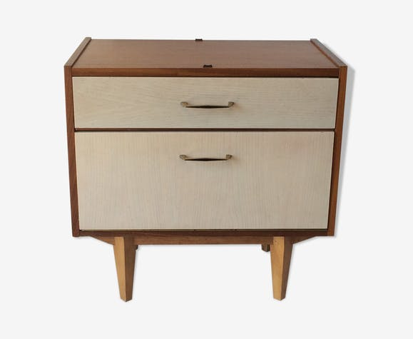 White and wood vintage bedside with golden handles