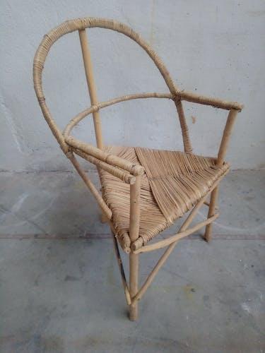 Lot de 4 chaises vintage bois et rotin