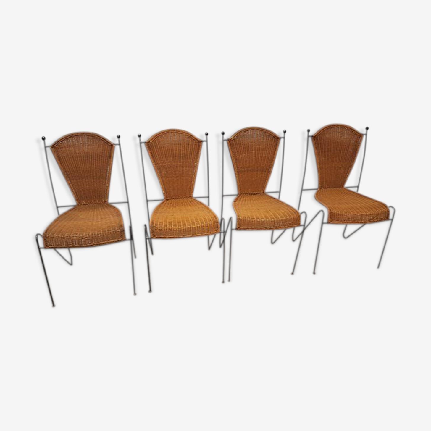Chaise vintage en osier et acier noir