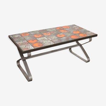 Table basse fer et céramique seventies