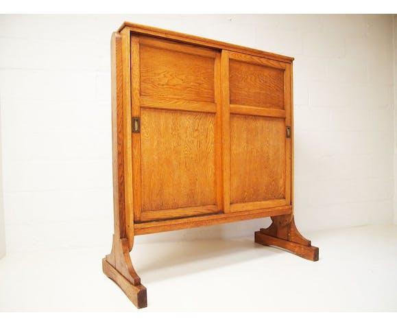 English oak church storage cupboard for bible and hymn books