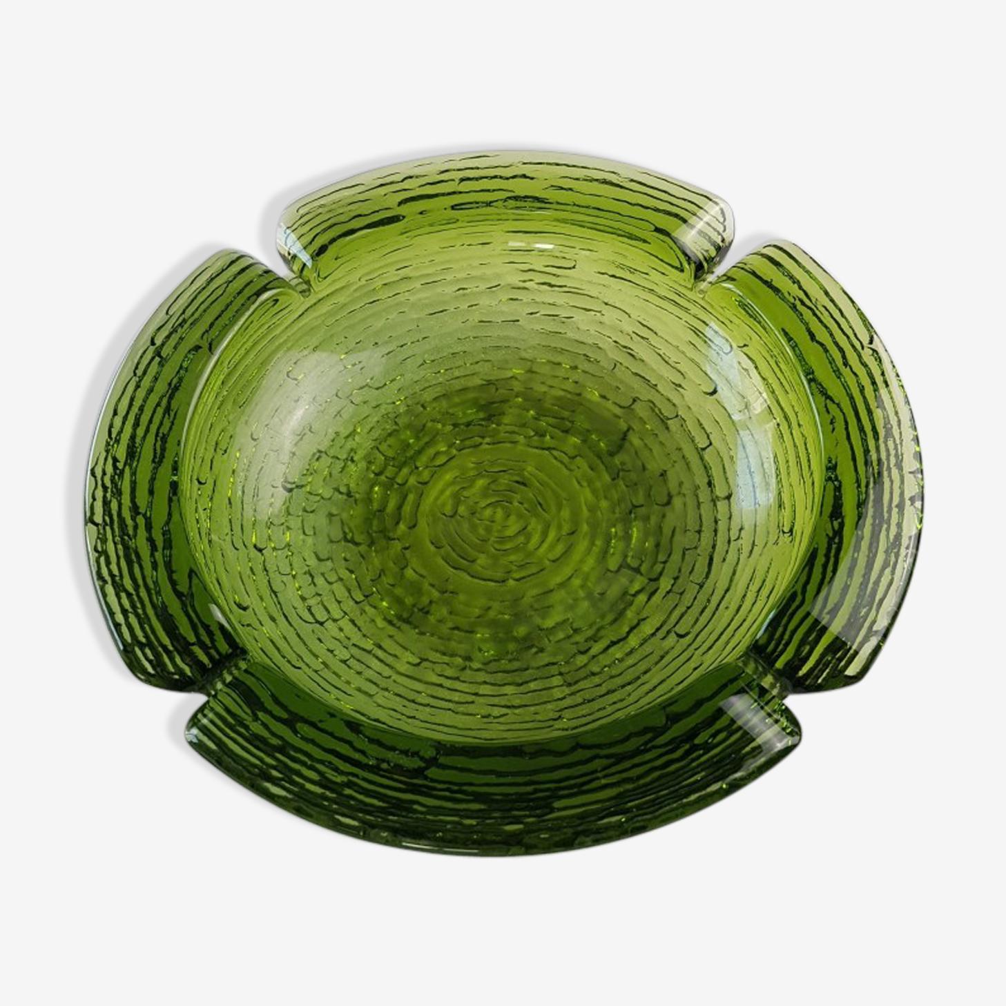 Green molded glass ashtray