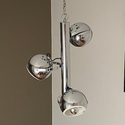 Lustre vintage « eye ball » 3 globes inox chromé 1970.