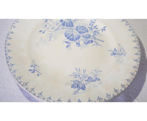 5 assiettes plates en faïence de Sarreguemines modèle Flore, terre de fer